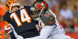 Photo Via Buccaneers.com George Johnson sacking Andy Dalton